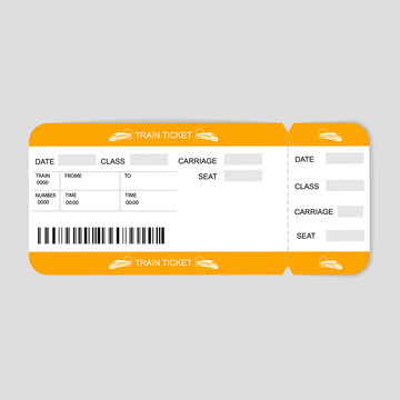 Modern Train  ticket, Travel by Railway.  Isolated object on white.