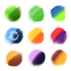9 Colored Vector paint elements.