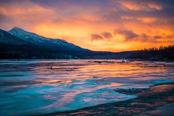 Alaskan sunrise over river