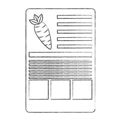carrot nutrition facts label template vector illustration sketch design