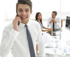 businessman talking on a mobile phone.