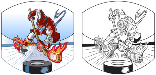 Devil Mascot Playing Ice Hockey Vector Cartoon