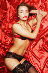 sexy woman on red background
