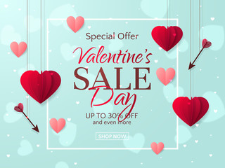 Vector romantic template of sale flyers and banners for Valentine's Day. Festive background with red paper hearts and arrows for discount and special offers. With place for text.