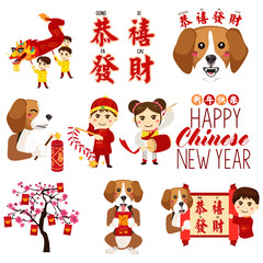 Chinese New Year Icons and Cliparts Illustration
