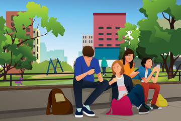 Teenagers Using Their Phones Outdoor Illustration