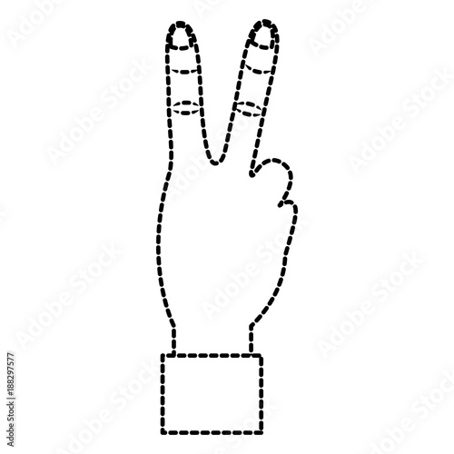 Hand with two fingers victory peace and love sign vector illustration sticker design