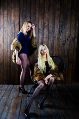 Two elegante sexy blonde girls wear on fur coat sitting on chair at studio against wooden background.