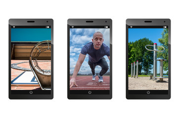Sports Pictures On Smartphones - Isolated On White Background