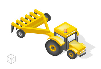 Set of Isolated Isometric Minimal City Elements . Tractor with Shadows on White Background