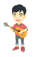 Asian cheerful boy  singing and playing the acoustic guitar. Full length of happy boy with a guitar. Vector sketch cartoon illustration isolated on white background.