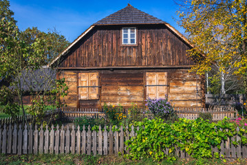 Old wooden traditional house in heritage park of Kampinos Forest in Poland