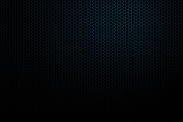 Abstract gradient dark blue background with white hexagon mesh.