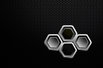 Abstract gradient black and white mesh background with hexagon gray and yellow shapes.