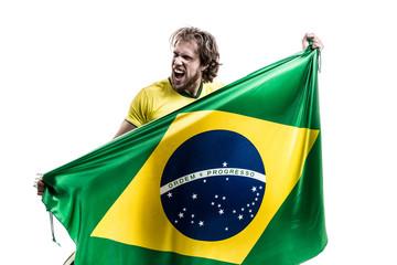 Brazilian athlete / fan celebrating on white background