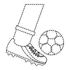 leg kicking a soccer ball vector illustration