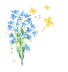 Forget-me-not flowers bouquet, butterflies isolated on white background. Watercolor design elements. Spring floral background