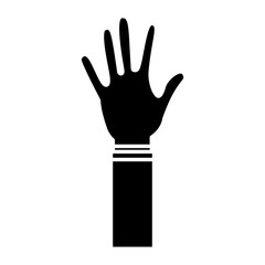hand wearing glove icon image vector illustration design  black and white
