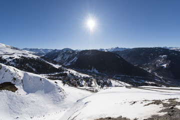 Winter landscape. Alpine village of Baqueira