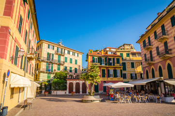 Papiers peints Ligurie Narrow streets and traditional buildings of Celle Ligure, Liguria, Italy