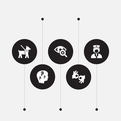 Set of 5 disabled icons set. Collection of nurse, guide dog, sign language and other elements.