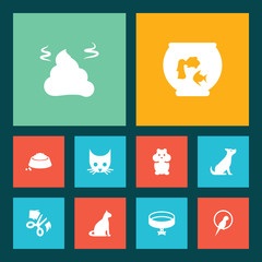 Set Of 10 Animals Icons Set.Collection Of Cat, Food, Scissor And Other Elements.