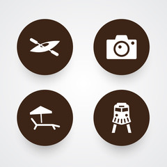 Set Of 4 Journey Icons Set.Collection Of Canoe, Chaise Longue, Photo Apparatus And Other Elements.