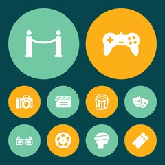 Set Of 10 Amusement Icons Set.Collection Of Pass, Joystick, Spectacles And Other Elements.