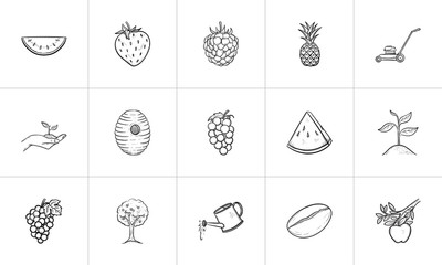 Agriculture food sketch icon set for web, mobile and infographics. Hand drawn Agriculture food vector icon set isolated on white background.