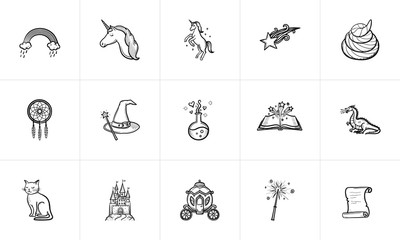 Magic and fairytale theme sketch icon set for web, mobile and infographics. Hand drawn Magic vector icon set isolated on white background.