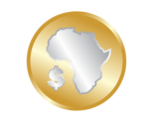 golden bronze africa continent coin image icon