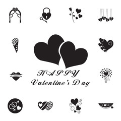 congratulations with hearts icon. Set of Valentine's Day elements icon. Photo camera quality graphic design collection icons for websites, web design, mobile app
