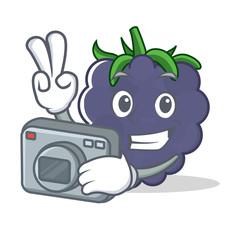 Photographer blackberry character cartoon style