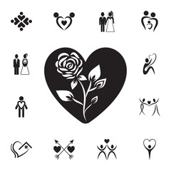 flower in the heart icon. Set of Valentine's Day elements icon. Photo camera quality graphic design collection icons for websites, web design, mobile app