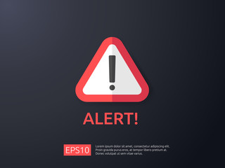 attention warning alert sign with exclamation mark symbol. shield line icon for Internet VPN Security protection Concept vector illustration.