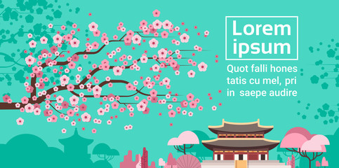 Deurstickers Groene koraal Sakura Blossom Over Korea Temple Or Palace Landscape South Korean Famous Landmark View Flat Vector Illustration