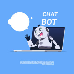 Chat Bot Service Cute Robot In Laptop Computer Template Banner With Copy Space, Chatter Or Chatterbot Technical Support App Concept Flat Vector Illustration