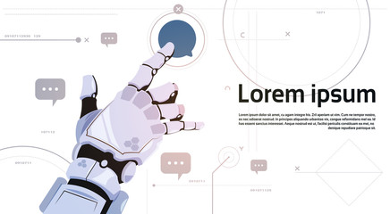Wall Mural - Robotic Hand Touch Chat Bubble Icon Robots Communication And Artificial Intelligence Concept Flat Vector Illustration