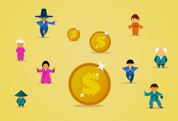 Asian People Group In Traditional Clothes With Dollar Coins Financial Business Success Concept Flat Vector Illustration