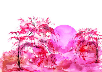 Foto op Plexiglas Candy roze Watercolor forest, red, bearded silhouette of trees, bushes, willow, birch. Field. Country view. Postcard, logo, card. Night, sunrise, sunset, pink silhouette of trees. Art illustration.