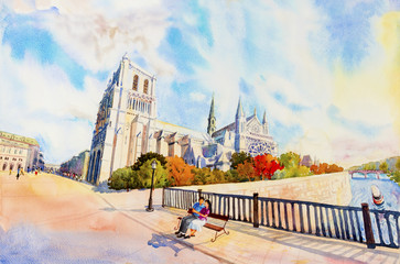 Street view, Notre Dame, famous in Paris France.