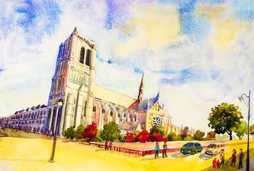 Street view, Notre Dame, famous in Paris France.