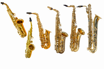 saxophone isolated on white background, group of saxophones