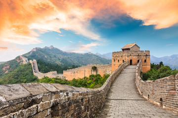Tuinposter Chinese Muur Great Wall of China at the jinshanling section,sunset landscape