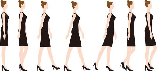 ハイヒールを履いた女性 足を踵から下す歩き方