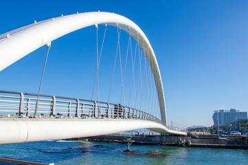 Idyllic Gyeongpo beach with pedestrian bridge, Gangneung, Pyeongchang, South Korea