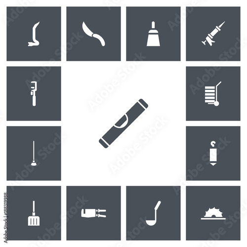 Set Of 13 Editable Apparatus Icons Includes Symbols Such As Level