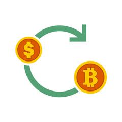 Bitcoin Exchanges Flow Symbol Vector Illustration Graphic