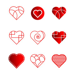 A set of nine unique vector hearts created in different styles.