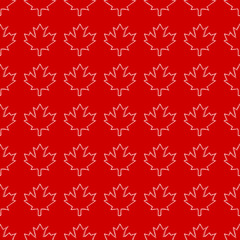 A seamless Canadian pattern in vector format made up of repeating maple leaves in a sketchy style.